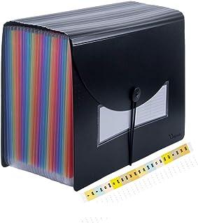 Uquelic Chemise à dossier extensible de 25 pochettes avec couverture - Organiseur de fichiers extensible Rainbow Document ...