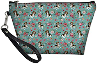 Showudesigns Cosmetic Case Waterproof Makeup Bag Toiletry Kit Clutch Tote Bag Waterproof Beagle Flower