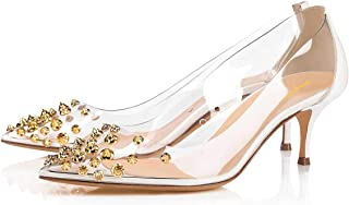 Women Rhinestone Studded Pumps Pointy Toe Mid Spike Heel Slip On Transparent Clear PVC Evening Party Dress Shoes