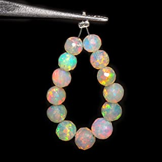 Jaguar Gems 5cts AAA Natural Ethiopian Welo Opal Stone, Opal Round Beads Supply, Opal for Jewelry Projects, Beads for Crafts, Handcrafted Loose Beads Drop, Ultra Fire Striking Opals