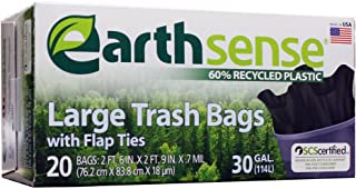 Earthsense Flap Tie Trash Bags (2 Sizes/Quantities Available) 30 Gal x 0.7 mil, Black GES12FT20 20