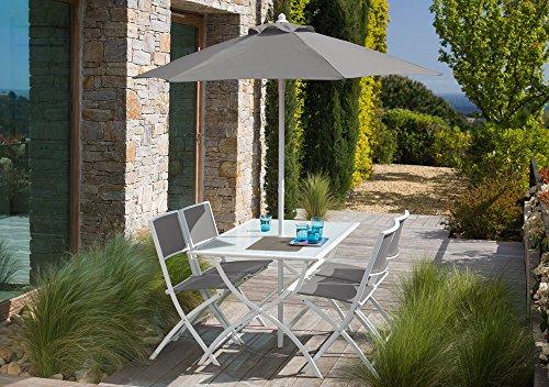 Générique Salon de jardin gris avec parasol offert