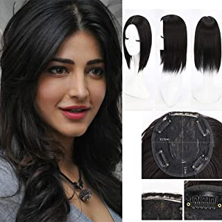 Top Hair Pieces Topper Synthetic Hair Clip in Hair Toppers Top Hairpieces for Women with Thinning Hair Gray Hair Hair Loss (Middle Part, Natural Black)