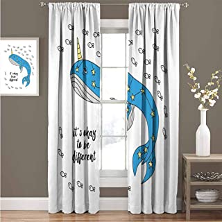 GUUVOR Narwhal Wear-Resistant Color Curtain Hand Drawn Whale Sketch with Horn and Star Pattern Swimming with Fishes Waterproof Fabric W84 x L84 Inch Azure Blue Grey Yellow