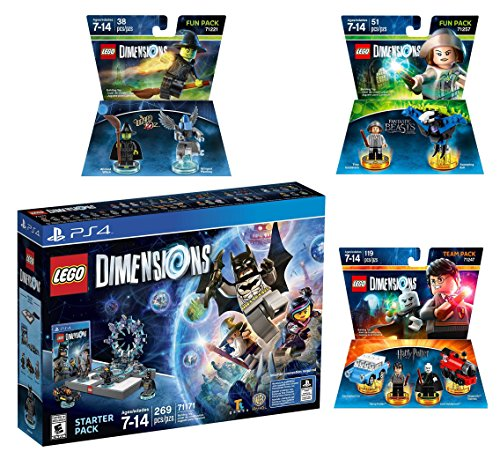 Lego Dimensions Magical Starter Pack + Harry Potter Team Pack + Fantastic Beasts Tina Goldstein Fun Pack + The Wizard Of Oz Fun Pack for Playstation 4 or PS4 Pro Console