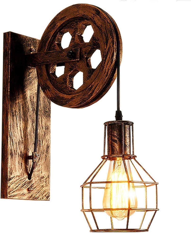 WZJDY Retro Wandleuchte E27 Industrial Lifting Riemenscheibe Wand Lampe Kreative Restaurant Loft Korridor Aisle,Brass