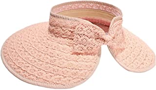 HAOHAO Hipster Sun Hat Lafite Visor Hat Lace Bow Empty Top Hat Travel Hat Collapsable Sun Hat Extensive Wing Large Beach Hat (Color : Pink, Size : 57-60CM)