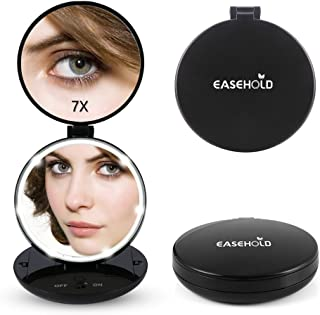 Easehold Folding Travel Handheld Mirror with Lights, Led Lighted Makeup Vanity Magnifying Mirror (Black)