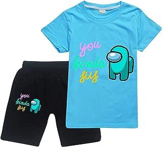 Amo-Ng Us Toddler Short Sleeve T-Shirt and Shorts 2 Pieces Set Boys and Girls Summer Tracksuit