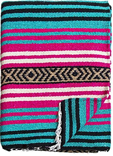 El Paso Designs Peyote Hippie Blanket Classic Mexican Style Falsa Stripe Pattern in Vivid Peyote Colors. Throw