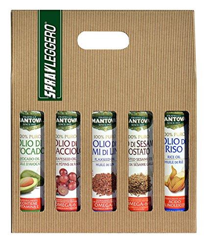 Confezione 5 x 200 ml spray nutraceutico: olio di Avocado, di Semi di Lino, di Vinacciolo, di Sesamo Tostato e di Riso