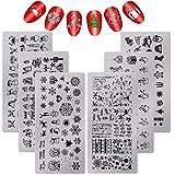 6 Pieces Christmas Nail Stamp Plates Nail Stamping Templates Snowman Snowflake Pattern Plates for DIY Nail Art Decoration