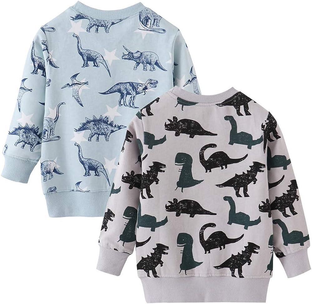 Azalquat Toddler Boys Crewneck Sweatshirt , Cotton Long-Sleeve Pullover Cartoon Print