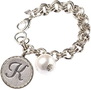 Initial Coin Double Link Chain Bracelet With Pearl, 8-8.5