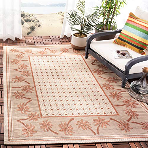 Safavieh Courtyard Collection CY5148J Ivory and Rust Indoor/ Outdoor Area Rug (8' x 11')