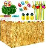 119 Piezas Set de Decoración de Fiesta Tropical Hawaiana con 9 pies Faldón de Hierba Hawaiana Luau, Flores de Hibisco, Hojas de Palma, Piña de Papel, Tapas de Comida de Paraguas y Pajitas de Fruta 3D