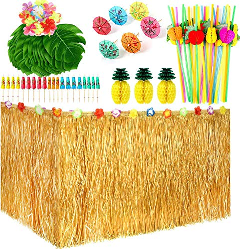Xiaorouqiu 119 Piece Hawaiian Party Decoration Set, Hawaii Luau Table Skirts, Hawaiian Banner, Artificial Palm Leaves, Cake Lid and 3D Fruit Straws for BBQ Tropical Garden Tiki Party Decoration