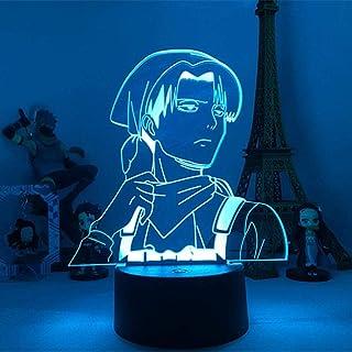 BTEVX Anime Kids 3D Illusion Lámpara de mesa acrílica para luz fresca Habitación para el hogar Regalo para niño Capitán Levi Ackerman Figura Luz nocturna