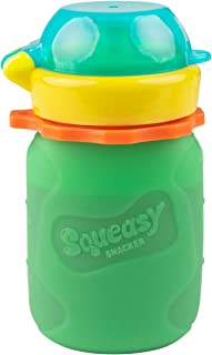 Green 3.5 oz Squeasy Snacker Spill Proof Silicone Reusable Food Pouch - for Both Soft Foods and Liquids - Water, Apple Sauce, Yogurt, Smoothies, Baby Food - Dishwasher Safe