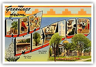 GREETINGS FROM NEW MEXICO vintage reprint postcard set of 20 identical postcards. Large letter US state name post card pack (ca. 1930's-1940's). Made in USA.