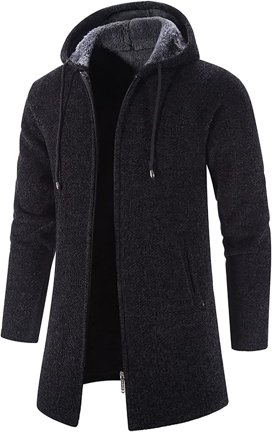Men's Solid Color Hooded Jacket Windbreaker Mid-Length Hooded Coat Fashion Casual Full Zipper Cardigan with Pockets