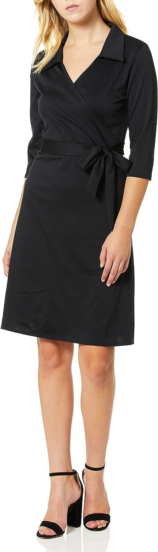 Star Vixen Women's Plus Size 3/4 Sleeve Ponte Stretch Knit Classic Silhouette Faux-wrap Short Dress