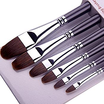 Paint Brushes for Acrylic Painting Sable Weasel Hair Artists Filbert Paintbrushes Long Handle for Acrylic Oil Gouache Watercolor Painting Brush Set Artist 6Pcs/Set