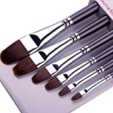 Paint Brushes for Acrylic Painting Sable Weasel Hair Artists Filbert Paintbrushes Long Handle for Acrylic Oil...
