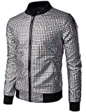 JOGAL Herren Metallic Pailletten Baseball Bomberjacke 70er Disco Party Kostüm X-Large Silber