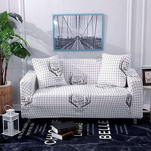 RONGER All-Inclusive Stretch Sofa Kissen Bedruckt Sofabezug Handtuch Einfache Und Moderne Wohnzimmer Einzel- / DREI Vollbezug (Corna di griglia Bianche,2 Seats:145-185cm/57.09-72.83in)