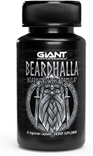 Beardhalla Hair Growth Formula for Men | Quicker Facial Hair for a Stronger, Thicker, Fuller Beard and Mustache | Vitamin C,D,E | 10,000mcg of Biotin - 60 Capsules