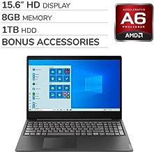 "$319 » Lenovo IdeaPad S145 2020 Premium 15.6"" FHD Laptop Notebook Computer,AMD A6-9225 2.6 GHz, AMD Radeon R4, 8GB RAM, 1TB HDD, No DVD, Wi-Fi, Bluetooth, Webcam, HDMI,Windows 10 Home S, Bonus Accessories"
