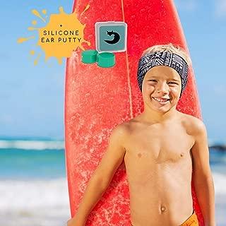 Will & Fox Kids Swimming Headband Ultra Grip Thick Neoprene Ear Band Keeps Ears Dry and Earplugs Secure - Free Silicone Swim Ear Plugs - Sizes 3 Months-10 Years
