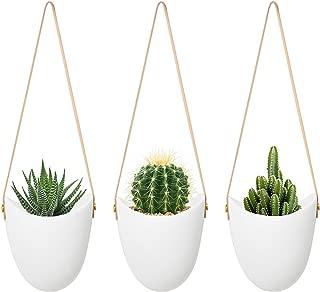 MoonLa Ceramic Hanging Planter Succulent Air Plant Flower Pot Wall Decor, Set of 3(Plants Not Included)
