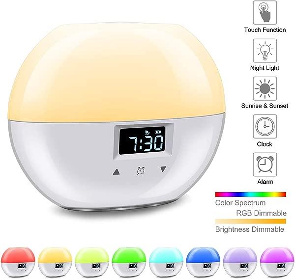 GOOJODOQ 日出闹钟升级智能唤醒灯 9 种颜色适合儿童日出模拟和睡眠模式卧室小夜灯