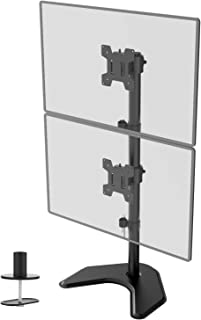 WALI Dual Monitor Desk Stand Free Standing LCD LED Flat Screen TV Holds in Vertical Position 2 Screens up to 27 Inch with ...