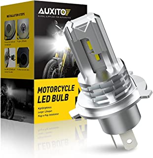 AUXITO H4 LED Headlight Bulb Motorcycle, 9003 HB2 LED Light 6000K White for High and Low Hi/Lo Beam 1860 CSP LED Chips, Pa...