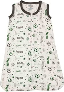 Bacati Soccer Ball Muslin Sleep Sack, Green/Grey, Medium