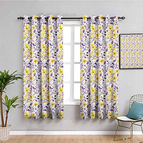 SONGDAYONE - Cortina opaca para acuarelas, 99 cm de largo, diseño de flores silvestres, color amarillo y blanco