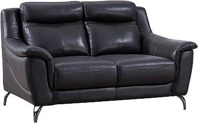American Eagle Furniture EK150 Modern Upholstered Top Grain Leather Living Room Loveseat, Black