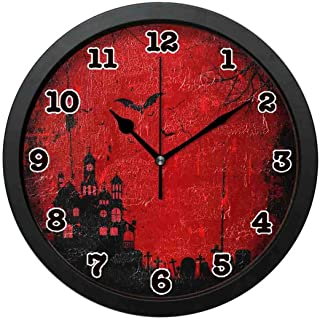jiushiyigezi-n Wall Clock-Halloween Scary Castle Personality Decorative Wall Clock for Bedroom、Office and Living room-12 inches