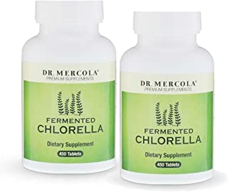 Dr. Mercola Fermented Chlorella 1000mg - 450 Tablets - 2 Bottles - Higher Bioavailability than Regular Chlorella - Superfood Supplement - Naturally Detox and Support Your Immune System - Additive Free