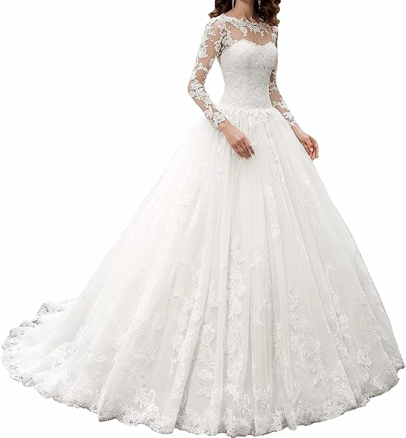 Amazon Com Owman New Women S Long Sleeves Scoop Lace Ball Gown Wedding Dress Bridal Gowns Clothing Shoes Jewelry