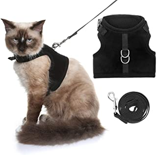 KOOLTAIL Escape Proof Cat Harness and Leash for Walking, Adjustable Soft Vest Harness for Cats Black