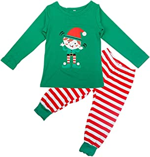 FENICAL Pajamas Family Christmas Sleepwears Elf Stripe Family Costume Wear PJs Matching Set