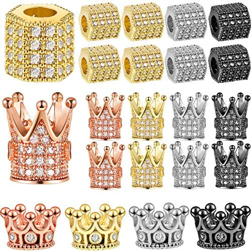 20 Pieces King Crown Charms Beads Hexagon Spacer Beads Set Rhinestone Charm Hexagon Big Hole product image