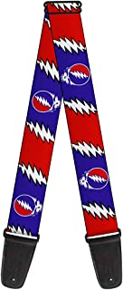 Buckle-Down 2 Inches Wide Guitar Strap - Steal Your Face w/Lightning Bolt Repeat Red/White/Blue (GS-WGD019)