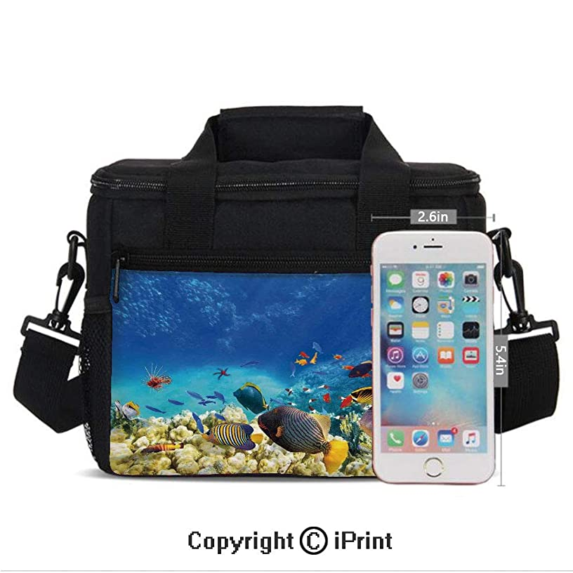 Girls Women Casual Lunch Bags Fairy Underwater with Fish and Source of Oxygen Coral Aquatic Liquid Culture Scenery Print Lunch Box Lightweight Portable Lunch Holder Bento Cooler Bag For Work School,M