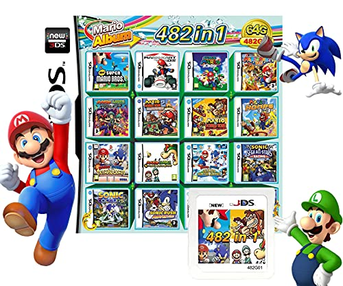 482 In 1 NDS Game Pack Card Compilations, Super Combo Multicart DS Game Card for Nintendo DS, NDSL, New 3DS, 2DS, New 2DS, NDSi, NDSi LL/XL, 3DS, 3DSLL/XL(Random color)