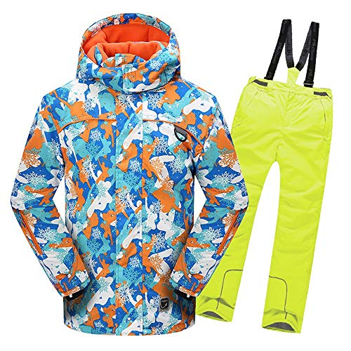 Uiophjkl Kindersneeuwpak jongens-meisjes-warme winddichte waterdichte sneeuwpak met capuchon ski-jas met broeken 2-delige set winterjas voor kinderen